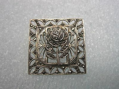 Gorgeous Vintage Sterling Silver Marcasite Floral Brooch / Pin Signed B-K