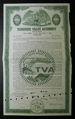 Tennessee Valley Authority $1,000 bond / stock certificate