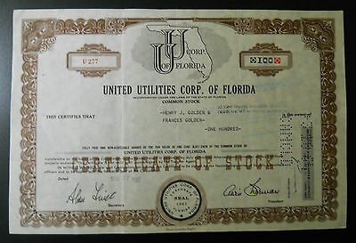 United Utilities Corp. of Florida stock certificate