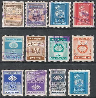 Bangladesh Special Adhesive Revenues 12 diff used  stamps 1973//86 cv $11
