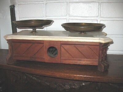 1880 Henry Thromner Drug Store Scale Marble Top Walnut Wood Case Eagle Brass Pan