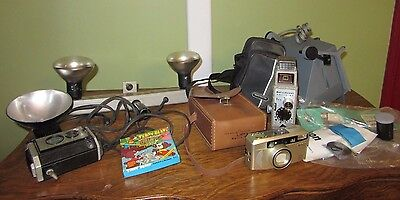 Lot of  Assorted Vintage Cameras Flash Manuals Movie Camera Cartoon Must See Lot