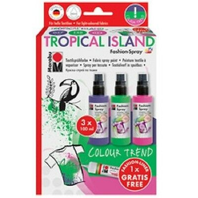 Marabu Textilsprühfarbe Fashion-Spray Tropical Island, 3er Set, Sprühfarben