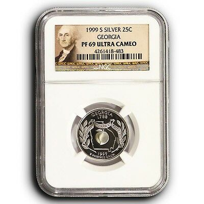 1999 S Georgia NGC PF69 Ultra Cameo Proof Silver Quarter Coin