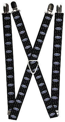 Ford Automobile Company Name Back Blue Logos Suspenders