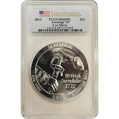 2015 Saratoga PCGS MS69 First Strike PL ( Proof Like ) ATB 5 oz Silver Coin