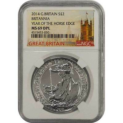 2014 2 POUND Great Britain 1 Oz Silver BRITANNIA NGC MS 69 DPL (Deep Proof Like)
