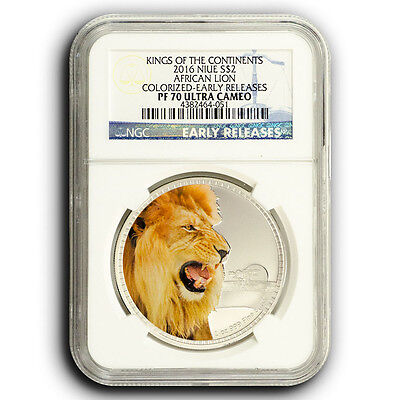 2016 African Lion NGC PF70 Early Releases NIUE 1 oz Proof Silver Coin