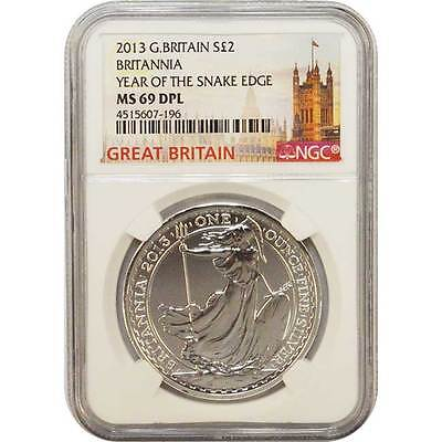 2013 Great Britain 2 POUND 1 Oz Silver BRITANNIA NGC MS69 DPL Snake Edge