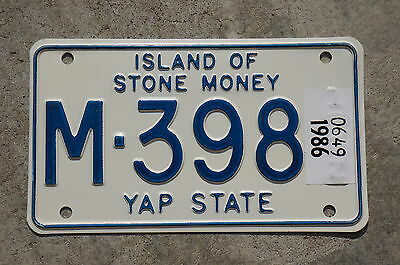 1986 YAP STATE ISLAND OF STONE MONEY MOTORCYCLE License Plate - Oceania
