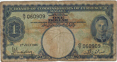 1941 1 One Dollar King George Vi Malaya Currency Banknote Note Money Bill Cash