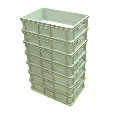 (Lot of 7) SSI Schaefer EF6150 Solid Euro-Fix Stackable Bin Box Containers