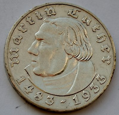 Germany 2 Mark 1933, Martin Luther, Silver coin