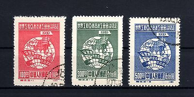 363-CHINA-International Congress WORKERS.1949.Yv.824-826.Complet set USED.CHINE