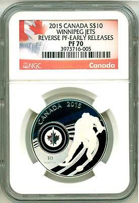 2015 S$10 Canada NHL Hockey Winnipeg Jets Reverse Proof Early Release NGC PF70