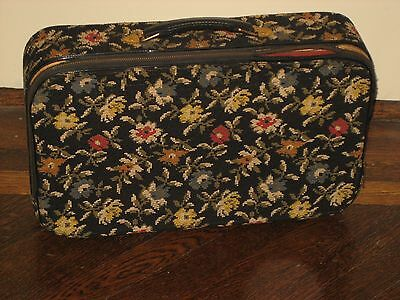 Vintage 1960s Black Floral Needlepoint Overnight Travel Bag Small Suitcase