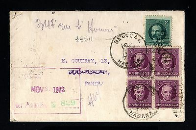 14690-CUBA-REGISTERED COVER BEJUCAL to PARIS (france).1922.SPAIN colonies.