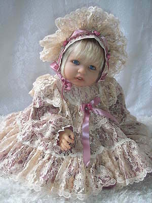 Victorian Mauve & Champagne Lace Gown for 20-24 Inch Reborn Babies