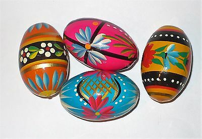 4 Vintage Easter Brightly Hand Painted Wooden Eggs Look