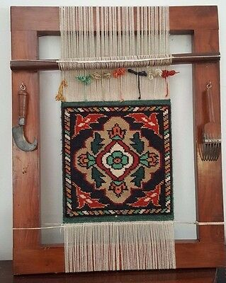 Antique Weaving Loom with Tools