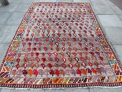 Old Shabby Chic Hand Made Traditional Persian Oriental Wool Brown Rug 276x200cm