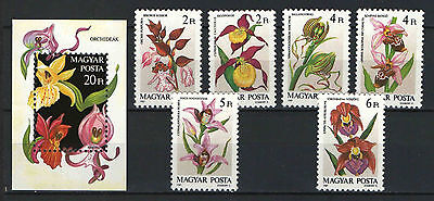 Two In One - Hungary 1987. Flowres / Orchids Set + Sheet Garniture Mnh (**)