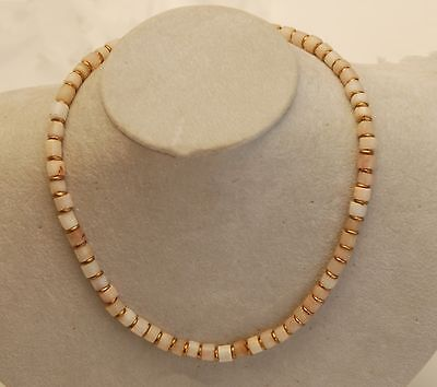 "ANCIENT ROCK QUARTZ Crystal Cylinder Stone Beads Necklace_17"" Long"