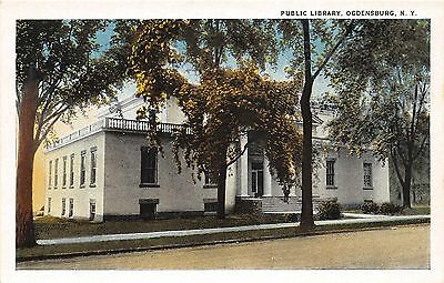 B87/ Ogdensburg New York NY Postcard c1910 Public Library Building 2
