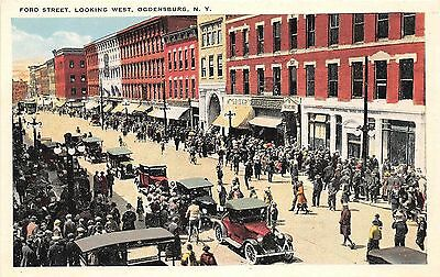 B87/ Ogdensburg New York NY Postcard c1910 Ford Street West Parade Stores