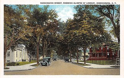 B87/ Ogdensburg New York NY Postcard c1910 Washington Street Homes Library