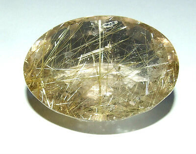 Huge Faceted Natural Rutilated Quartz Cabochon. 4.2Cm / 3.3Cm. Healing.