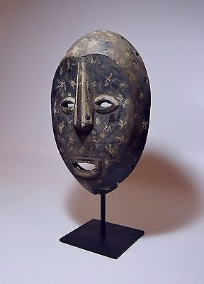 Vintage Lega Bwami Society Mask with Painted Star designs, African Art