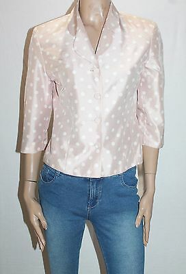 Anthea Crawford Brand Vintage 1990's Blush Polka Dot 3/4 Sleeve Jacket Size10