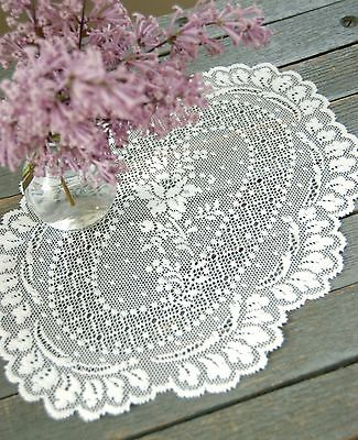 Country Cottage Floret Doily by Heritage Lace, 8x12, Ecru or White Romantic Lace