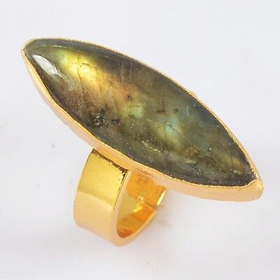 Size 6.8 Marquise Gold Plated Natural Labradorite Ring T020229