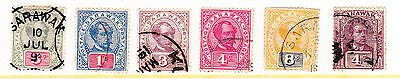 Sarawak: 6 different USED stamps (1888/1901)-Sc#s 14a, 36, 38, 39, 40, & 56