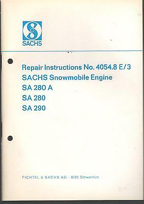 Vintage Sachs Snowmobile Engines Service Manual New No. 4054.8 E/3    (374)