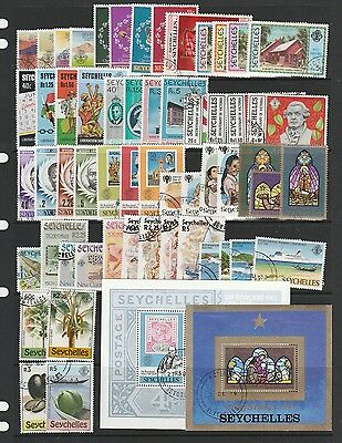 Seychelles 13 sets, 1 single, 1 Opt & 2 MS VFU/CTO All QE2 as shown 1977/80