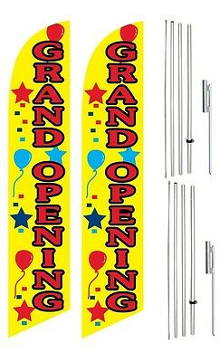 Windless Swooper Flag Kit Twin Pack GRAND OPENING Yellow Red Star Balloon