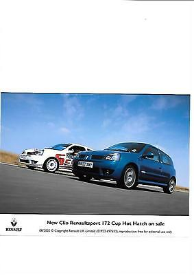 Clio Renault Sport 172 Cup Hot Hatch Press Photo 'sales Brochure' August 2002