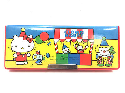 Vintage Sanrio Hello Kitty Clown House 2 Side Magnetic Pencil Case Japan