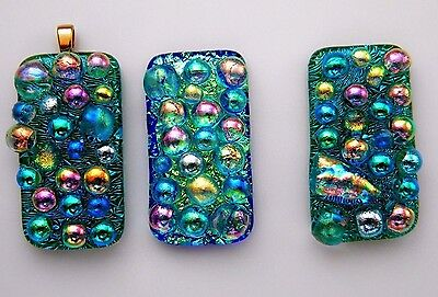 BUBBLES 3pcs MULTI COLORS pendant DICHROIC FUSED GLASS (S14) CAB MOSAIC