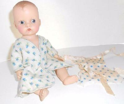"8"" vinyl baby doll 1950s GINNETTE painted eyes UNMARKED Sue Sue robe"