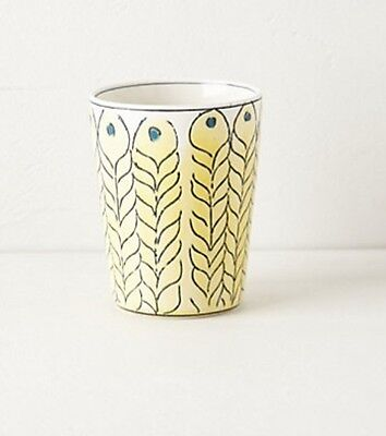 NIB Anthropologie MOLLY HATCH Peacock Feather Bath Tumbler Cup Textured