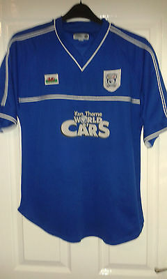 2 X Mens Football Shirt - Cardiff City FC - Home 2001 L / Away 2008 S - Blue Red