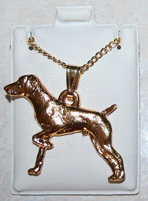 GERMAN SHORTHAIRED POINTER Dog 24K Gold Plated Pewter Pendant Chain Necklace Set