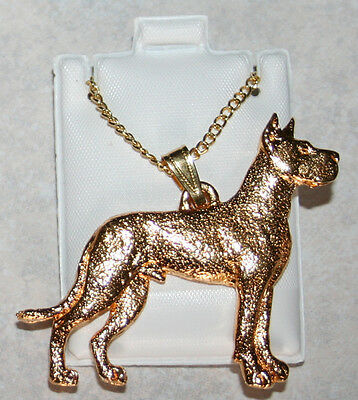 GREAT DANE Dog 24K Gold Plated Pewter Pendant Chain Necklace Set Jewelry