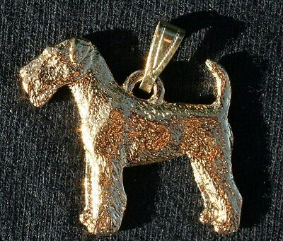 AIREDALE Terrier Dog 24K Gold Plated Pewter Pendant Jewelry USA Made