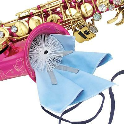 Blue Saxophone Wiping Cloth w/ Brush for Alto Tenor Sax Cleaning Maintenance