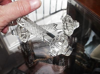 Lovely Old Elegant Very Ornate Sparkle Cut Crystal Glass Pair Of Knife Rests